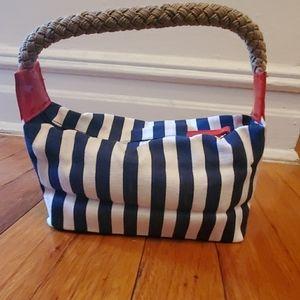 Cute navy/white stripe nautical look mini bag